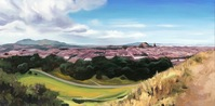 "Edinburgh from Arthur's Seat, 2020, oil on panel, 12"" x 24"""