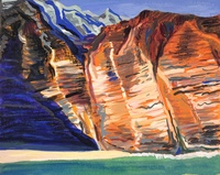 Cliffs, Gouache and pastel on paper, 2020